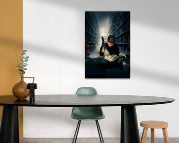 Garçon lisant dans le noir dans une bibliothèque, sur Jürgen Neugebauer   createyour.photo