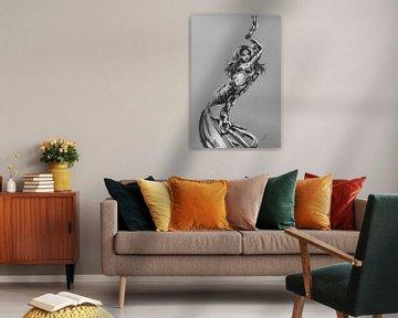 Meerjungfrau-Poster. Zähe Meerjungfrau, die an einer Kette mit einem Anker hängt. Artwork in Schwarz von Emiel de Lange