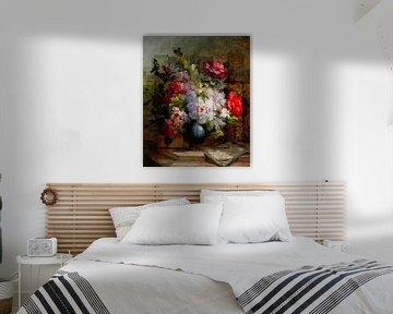 Stilleven met bloemen en bladmuziek. Flower Weaver van Rudy en Gisela Schlechter