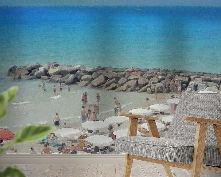 Beispiel fototapete: Italien - Geselligkeit am Strand unter den Sonnenschirmen - San Remo - Italienische Riviera - Malere von Schildersatelier van der Ven
