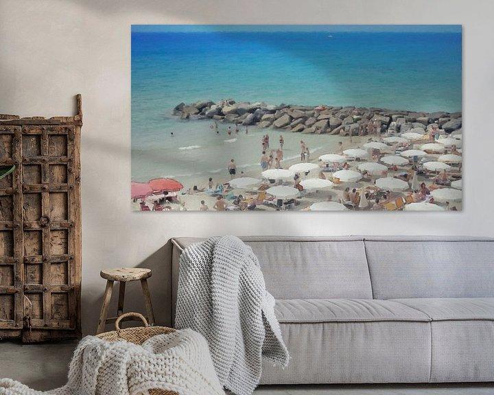 Beispiel: Italien - Geselligkeit am Strand unter den Sonnenschirmen - San Remo - Italienische Riviera - Malere von Schildersatelier van der Ven