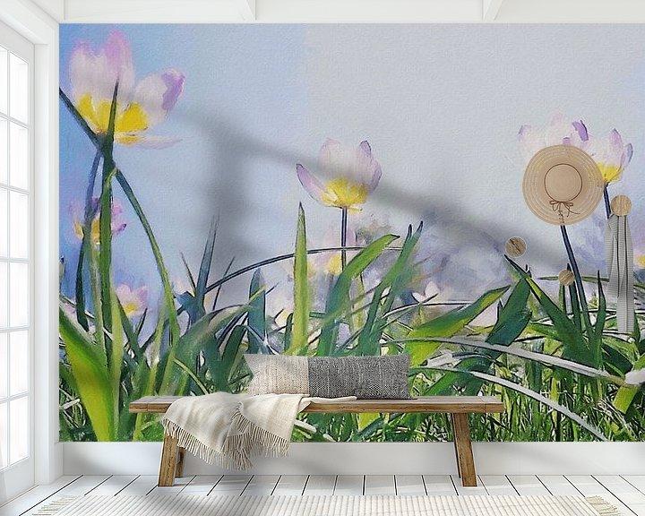 Beispiel fototapete: Helle Tulpen unter der Sonne und blauem Himmel über grünen Grashalmen - Gemälde von Schildersatelier van der Ven