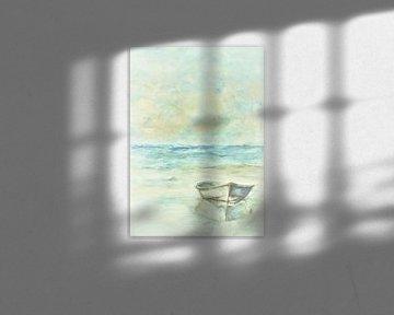 Gestrandetes Ruderboot. von Ineke de Rijk