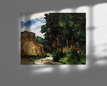 Bocht in rivier, Paul Cézanne (ca. 1865) van Atelier Liesjes