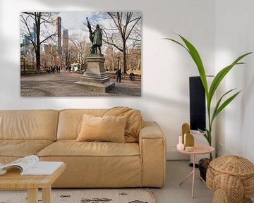 Christoffel Columbus standbeeld (door Jeronimo Suol) in Central park New York stad daglicht uitzicht van Mohamed Abdelrazek