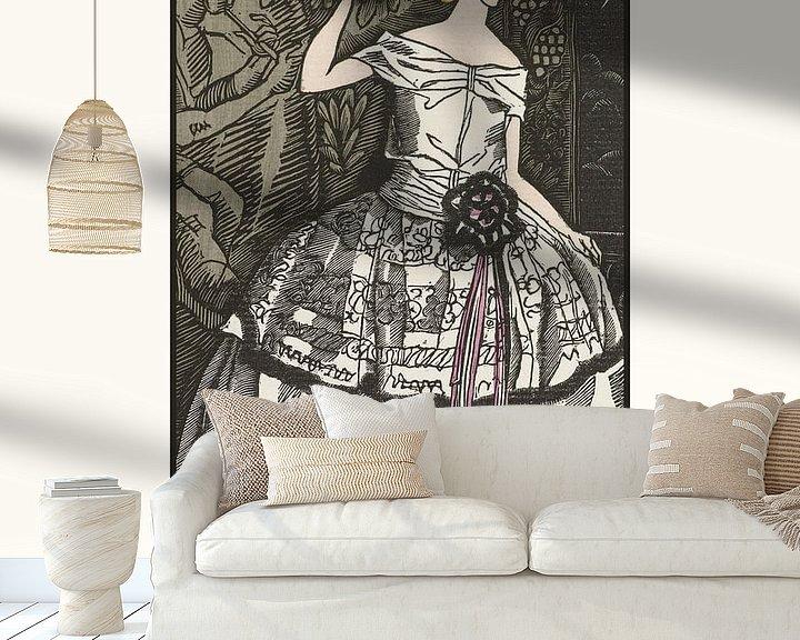 Sfeerimpressie behang: Chloe | Historische Art Deco mode prent | Retro design met moderne look van NOONY