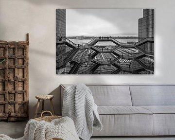 Vessel (herontwikkelingsproject Hudson-werven) New York buitenaanzicht bij daglicht in zwart-wit