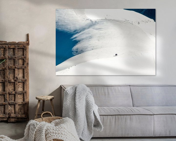 Sfeerimpressie: Alpinisten in de Vallee Blanche van John Faber