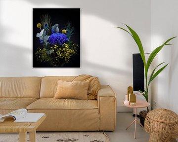 Stilleven Bloemen, boeket met blauw en geel