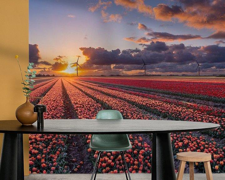 Sfeerimpressie behang: Zonsondergang boven de tulpenvelden in Flevoland van Fotografie Ronald