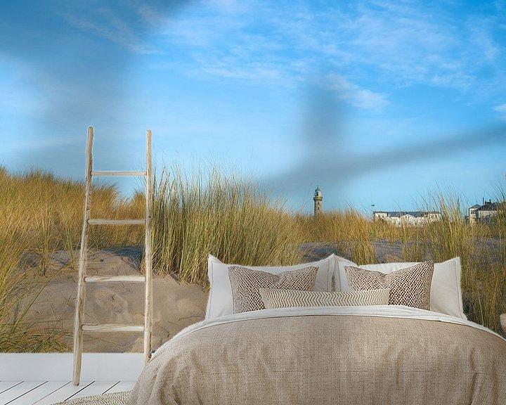 Sfeerimpressie behang: Duinen op het strand van Warnemünde aan de Oostzee van Heiko Kueverling