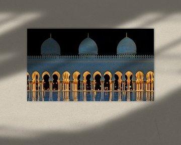Sheikh Zayed Grand Moschee, Abu Dhabi Vereinigte Arabische Emirate bei Nacht mit Reflexion im Wasser von Mohamed Abdelrazek