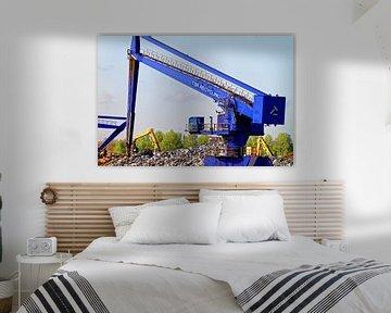 Kranen op het sloopeiland in de haven van Duisburg (7-25382) van Franz Walter