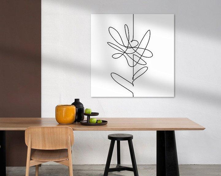 Beispiel: Modernes Kunstwerk. Zeichnen in einer durchgehenden Linie. Schwarze Linie auf weißem Hintergrund ein von Wanddecoratie