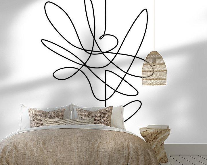 Beispiel fototapete: Modernes Kunstwerk. Zeichnen in einer durchgehenden Linie. Schwarze Linie auf weißem Hintergrund ein von Wanddecoratie