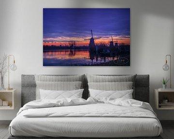 Fantasy Kinderdijk bei Sonnenaufgang von Tina Linssen