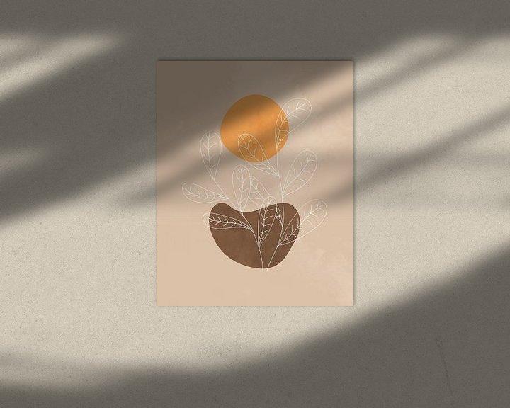 Sfeerimpressie: Minimalistisch landschap in herfstkleuren met een oranje zon van Tanja Udelhofen