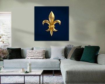 Fleur de Lys / Fleur de Lis golden korrodiert auf blauem Untergrund von Jörg Hausmann