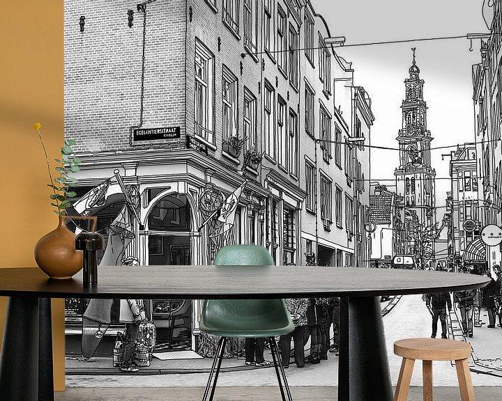 Sfeerimpressie behang: Pentekening Jordaan Westerkerk Amsterdam Tekening Lijntekening van Hendrik-Jan Kornelis