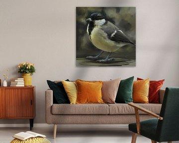 Parmesan Kohlmeise.  Hintergrund in Gelbgrün- und Grautönen. Schönes Gemälde eines kleinen Vogels in von Emiel de Lange