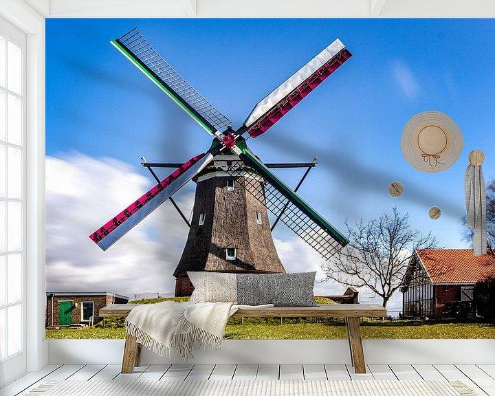 Sfeerimpressie behang: Zeeuwse molen de Blazekop van Fotografie in Zeeland