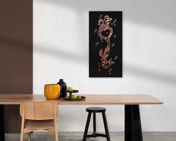 Langes vertikales Kunstwerk mit zwei Meerjungfrauen, einem Herz und einer Halskette von Emiel de Lange