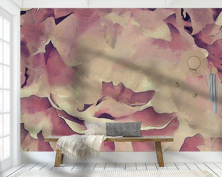 Sfeerimpressie behang: De Bloemblaadjes van een Pioenroos - Schilderij van Schildersatelier van der Ven