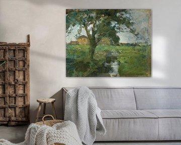 Farm Einstellung mit Vordergrund Baum und Bewässerung Graben, Piet Mondrian