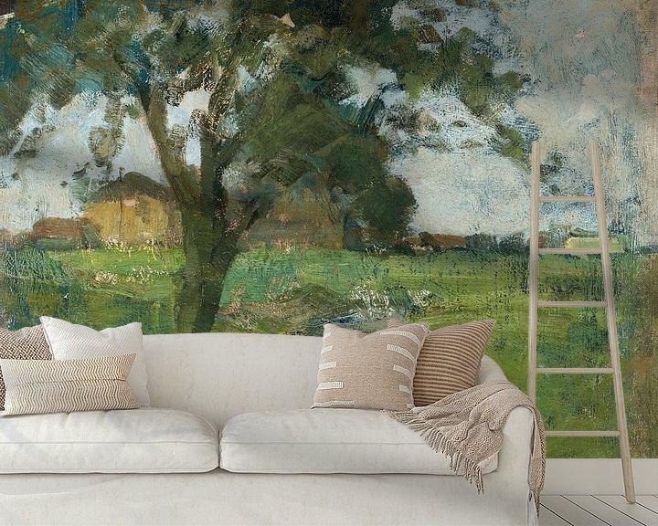 Beispiel fototapete: Farm Einstellung mit Vordergrund Baum und Bewässerung Graben, Piet Mondrian