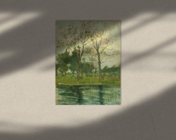 Beispiel: Zwei Bäume silhouettiert hinter einem Wasserlauf, Piet Mondrian
