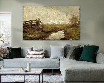 Bewässerungsgraben mit Holztor links, Piet Mondrian