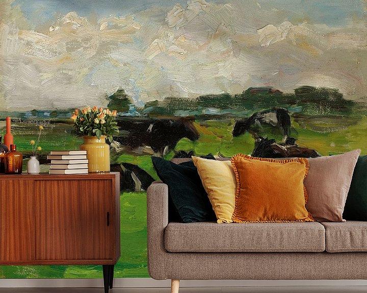Beispiel fototapete: Landschaft mit Gruppe von fünf Kühen, Piet Mondrian