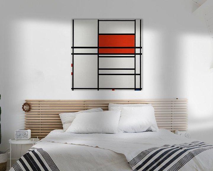 Beispiel: Komposition von Rot und Weiß; Nom 1,Komposition Nr. 4 mit Rot und Blau, Piet Mondrian