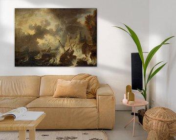 Sturm mit Schiffswrack vor einer Küstenfestung, Peter van de Velde