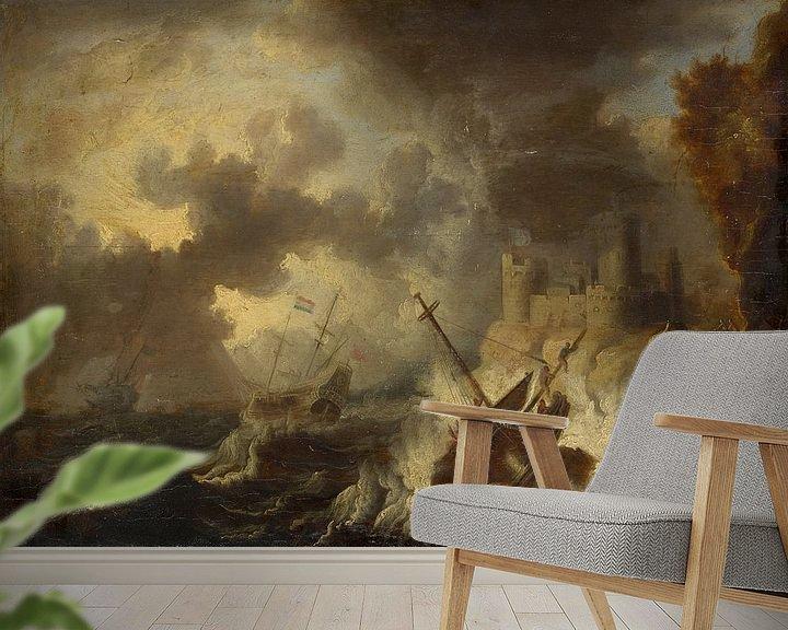 Beispiel fototapete: Sturm mit Schiffswrack vor einer Küstenfestung, Peter van de Velde
