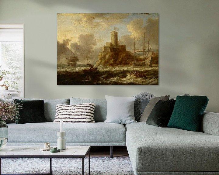 Beispiel: Küstenfestung mit stürmischer See, Peter van de Velde