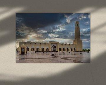 Katar Staatsmoschee (Imam Muhammad ibn Abd al-Wahhab Moschee) Außenansicht bei Sonnenuntergang mit W von Mohamed Abdelrazek