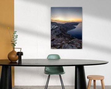 Zonsondergang op over Folegandros eiland en de Egeïsche zee | Cycladen, Griekenland van Teun Janssen