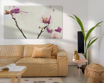 Magnolienblüten auf Zweig gemalt - Warm - Tapete von Schildersatelier van der Ven