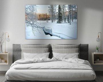 Riviertje sneeuw landschap van Rene du Chatenier