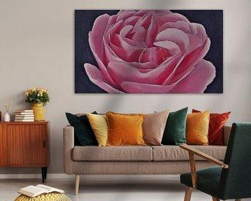 Gewellte rosa Leonardo da Vinci Rose - Gemälde von Schildersatelier van der Ven
