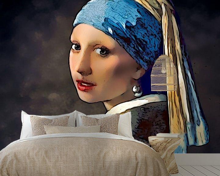 Sfeerimpressie behang: Stripboek Meisje met de Parel van Vermeer van Arjen Roos