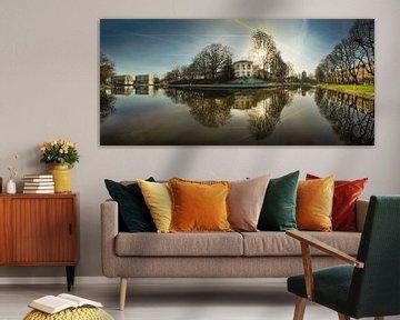 Panorama stadsgracht Leeuwarden van Harrie Muis