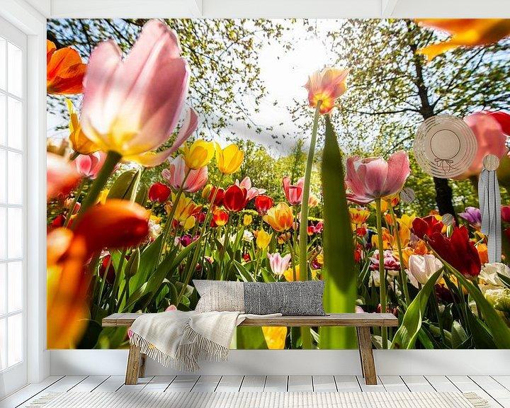 Sfeerimpressie behang: Kleurige Tulpen van Brian Morgan