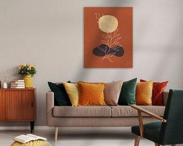 Minimalistisch-abstrakte Landschaft mit einer Pflanze in Herbstfarben von Tanja Udelhofen
