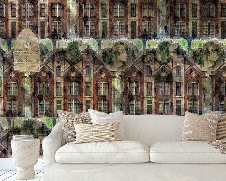 Sfeerimpressie behang: Cityscape V (op basis van rijksmonument de Sterrehof, Utrecht) van Ruben van Gogh