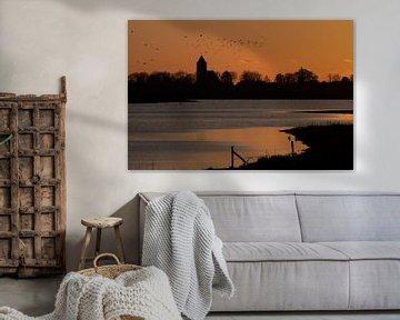 silhouette de Zalk dans la lumière orange du soir
