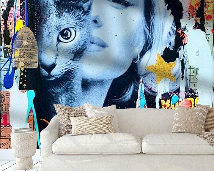 Beispiel fototapete: Marilyn Monroe und Katze von Kathleen Artist Fine Art
