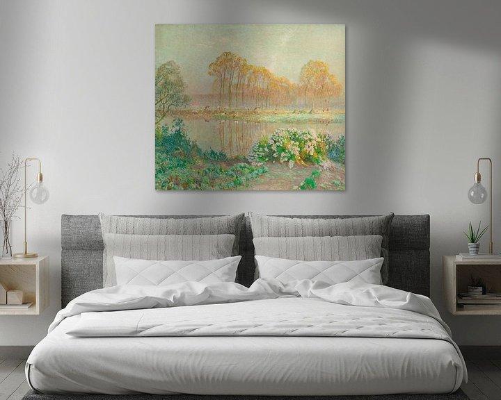 Beispiel: Landschaft mit Teich und Blüten, Emile Claus