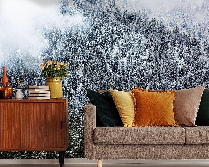 Impression: Forêt d'hiver dans les montagnes avec du brouillard sur Frank Herrmann